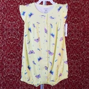 NEW CARTER'S Yellow butterfly Onesie 12M